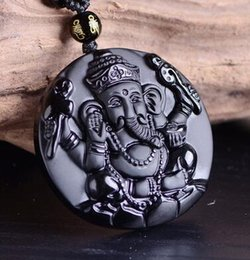 elephant carvings UK - Obsidian Carving Elephant Wealth Nose God Pendant Free Necklace Obsidian Blessing Lucky Pendants Fashion Jewelry