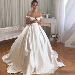 $enCountryForm.capitalKeyWord Australia - 2019 Simple Ivory A-Line Wedding Dresses Elegant Off The Shoulder robe de mariee Satin Bridal Gowns vestidos de noiva Plus size