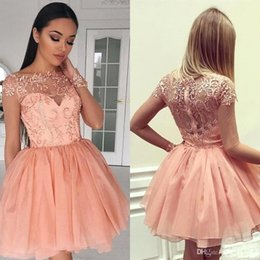 c3cc989ba8 Blush Pink Knee Length Homecoming Dresses A Line Sheer Long Sleeve Applique  Ruffles Short Cocktail Prom Gowns BC1579