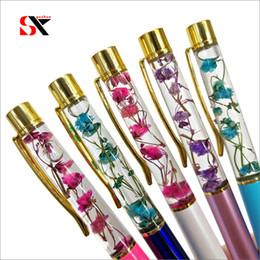 $enCountryForm.capitalKeyWord NZ - Golden Oil Flow Metal Ballpoint Pen Glass Copper Powder Flower Colorful High Quality Quicksand Pen