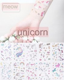 stickers heart tattoos NZ - 12*7.5cm INS Waterproof temporary fake tattoo stickers pink unicorn horse cartoon design kids child body art make up tools 25styles choose