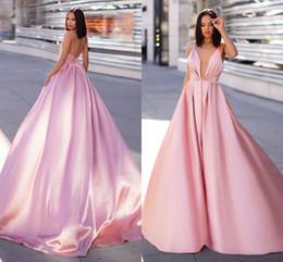 41c22d6e5 Sexy Aberto de Volta Rosa Vestidos de Noite 2019 Simples Projetado Uma  Linha de Cinta de Espaguete Longo de Cetim Vestidos de Baile Celebridade  Pageant Usa ...