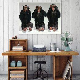 $enCountryForm.capitalKeyWord NZ - Modern Handpainted & HD Print Funny Animals Three Gorillas oil painting On High Quality Canvas Home Decor Wall Art Multi Sizes a83