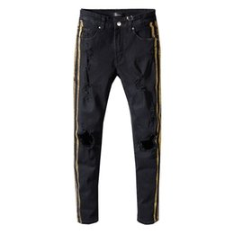 men pants italy UK - 2019 SexeMara NEW ITALY STYLE distressed men destroyed pants snake skin patches black Skinny Biker Slim Jeans Pants #5335