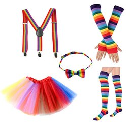 Kid Rainbow Tutus NZ - 5pcs set Children Suit Rainbow Tutu Skirts+bows bow tie+long gloves+Knit Knee High Socks+braces kids designer clothes Girls Outfits A2539