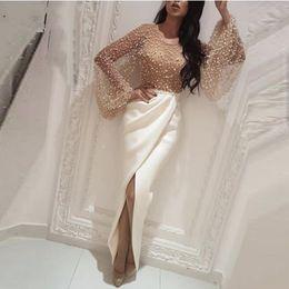 $enCountryForm.capitalKeyWord Australia - Sexy Muslim Evening Dresses 2019 mermaid sheer crew side slit Long Sleeves Pearls Slit Islamic Dubai Saudi Arabic Long Evening Gown Prom