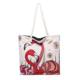 $enCountryForm.capitalKeyWord Australia - Flamingos Canvas Bags Animals Printed Eco Reusable Foldable Shoulder Bag Handbag For Women Tote Cotton Tote Bag Free shipping