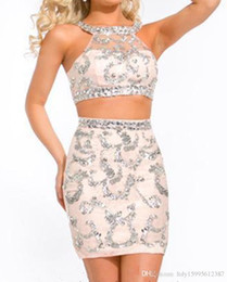 $enCountryForm.capitalKeyWord UK - 2019 New small round collar euramerican style manual seam bead mini sexy two-piece champagne tight cocktail homecoming dress 335
