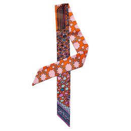 $enCountryForm.capitalKeyWord Australia - Flower Plant Hand Bag Scarves Women Small Silk Hat Scarf kerchief Neckerchief Flower Print Headdress Handle Bag Ribbon Long Scarves & Wraps