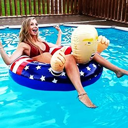 swim ring wholesale Australia - 110cm Cartoon Trump Swimming Ring Inflatable Floats Cute Giant Thicken Newest Summer Fun Inflatable Beach Play Water Fun Float Seat A32004