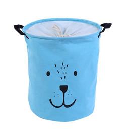 $enCountryForm.capitalKeyWord Australia - laundry linen Organization Round Cartoon Folding Drawstring Waterproof Laundry Basket Damp Proof Cotton Linen with Handle Storage Box