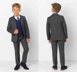 Discount sky blue color tuxedo - Handsome Kids Formal Wear Peaked Lapel 2 Pieces Wedding Tuxedos High Quality Boy's Formal Wear Pants Suits