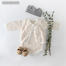 Cotton Cardigans For Girls Australia - Knitted Autumn Winter Cotton Girl Romper Cardigan Newborn Baby Clothes For Girls Jumpsuit Q190518