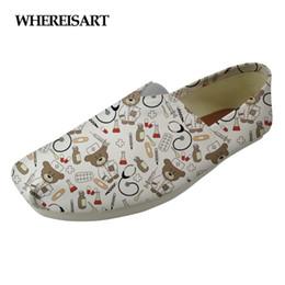 Discount rubber nursing shoes - WHEREISART White Cute Nurse Bear Pattern Women Flats Shoes Canvas Casual Shoes for Female Comfortable Flat Women's