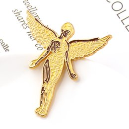 Charming suits online shopping - Nirvana In Uterus Badge Rock Music Brooch Heavy Metal Angel Wings Gold Charm Badge Lapel Pin Fashion Suit Fans Gift