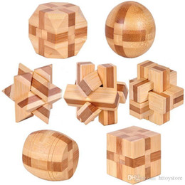 Discount puzzle Wholesale-7pcs lot 3D Eco-friendly bamboo IQ jigsaw brain teaser adults puzzle,educational wooden toys for kids