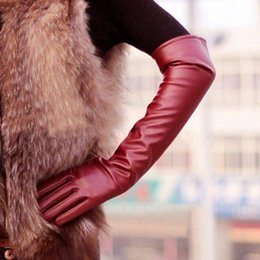 fingerless faux leather gloves Australia - Fashion- Women's Faux Leather Elbow Gloves Winter Long Gloves Warm Lined Finger Y8 CQ4