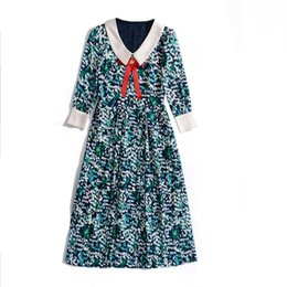 Ribbon Print Australia - 2019 Spring Summer Half Sleeve Peter Pan Collar Polka Dot Print With Ribbon Tie-Bow Mid-Calf Length Dress Luxury Runway Dresses A061806