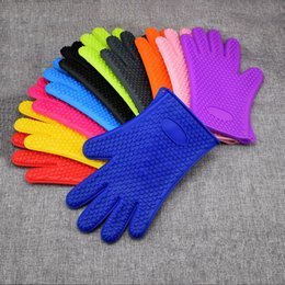 Wholesale Oven Silicone Gloves Microwave Oven Mitts Slip-resistant Bakeware Kitchen Cooking cake Baking Tools insulated Glove LJJA3593-13