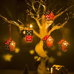 cabin lighting Australia - 2020 New Year xmas decorations for home Colored (with light) Christmas cabin Christmas house creative DIY Christmas tree hanging SH190918