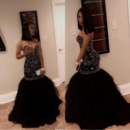 black apple green dress 2019 - 2019 New Sparkly Crystal Beading Mermaid Prom Dresses Sweetheart Tulle Black Gold Appliques Evening Party Gowns African