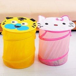 kids toy bins NZ - Cartoon Folding Pop-Up Laundry Hampers Storage Barrel with Cover Kid Standing Cloth Storage Toy Container Organization Finishing