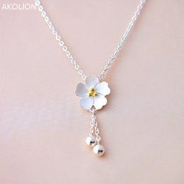 Cherry blossoms neCklaCe online shopping - AKOLION Silver Sakura Flower Necklaces Pendants Cherry Blossoms With Chain Choker Necklace Fashion Jewelry