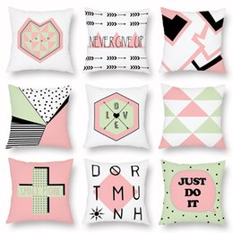 More Anti Australia - 9 Styles LOVE SMILE MORE NEVER GIVE UP Letter Cushion Covers Modern Geometric Triangles Plaids Cushion Cover Home Decor Soft Pillow Case