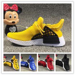 e79d102cf 2019 kids Human Race Runing Shoes boys girls Solar Pack Black Yellow PW HU  HOLI Pharrell Williams Children Sneakers baby birthday gift 26-35