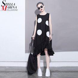 $enCountryForm.capitalKeyWord Australia - New 2019 Summer Women Black Sun Dress Large Dots Patches Sleeveless Ruffles Hem Straight Sundress Lady Cute Midi Tank Dress 1193 T3190610