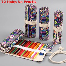 floral stationery NZ - Roll School Pencil Case for Girls Boys Penal Pencilcase Large 72Holes Pen Bag Canvas Penalties Box Stationery Pouch Kit