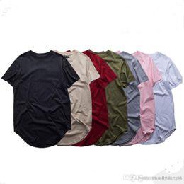 Long Curved Hem T Shirt Australia - Cotton Tee Shirt Homme Long Curved Hem Tee Extended T Shirt Oversized Kanye Streetwear Hip Hop Tops Longline Clothes