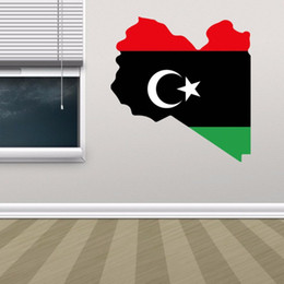 wall flags Canada - Libyan Flag Map of Libya Wall Vinyl Sticker Custom Home Decoration Wall Sticker Wedding Decoration PVC Wallpaper Fashion Design