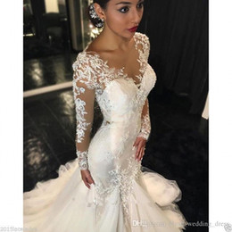 beaded lace applique wedding dresses Australia - Vintage Lace Mermaid Wedding Dresses Long Sleeves V Neck Appliques Beaded Wedding Gowns Sweep Train Jewel Bridal Gowns
