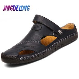 quality beach wraps NZ - Fashion Summer Men Sandals Quality Genuine Leather Male Outdoor Beach Slippers Soft Comfortable Rubber Sole Men's Beach Sandals Y200107