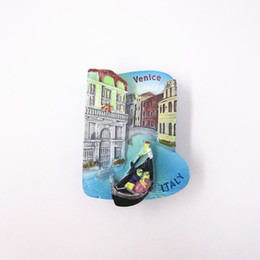 Note Home Sticker Australia - Hand Painted Cute Venice Building 3D Resin Fridge Magnet Stickers Italy Country Tourism Souvenirs Home Decoration Note Wholesale