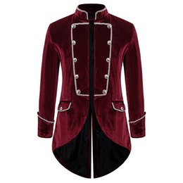 medieval cosplay men Australia - PUIMENTIUA Men Long Coat Medieval Vintage Swallowtail Steampunk Tailcoat Cosplay Costume Standing Collar Velvet Dovetail Outwear
