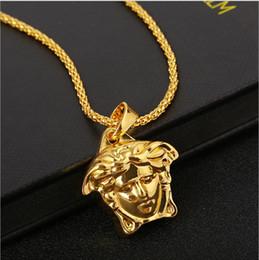Venta limitada wmen marca de calidad superior Medusa colgante collares para hombre 2019 joyería Hiphop caliente chapado en oro accesorios de lujo unisex en venta