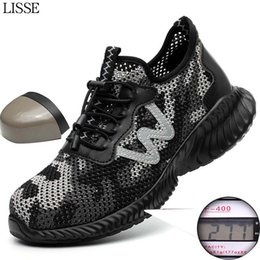 Breathable Summer Safety Shoe Australia - men and women protective shoes big net breathable safety shoes insulated light steel headgear summer casual sneakers