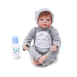 8640d87f7cf 55cm Silicone Vinyl Reborn Baby Boy Doll Toys 22inch alive Toddler Babies  Doll Kid Gift Present Girls bebe reborn Boneca
