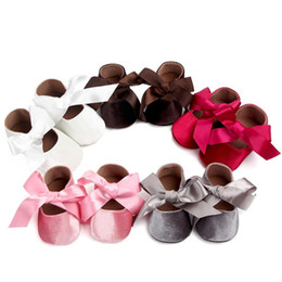 girls ribbon shoe laces Australia - Lovely Baby Girls Silk Ribbon Bowknot Shoes Fashion Newborn Princess Shoes Infants First Walkers With Big Bow