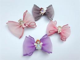 Purple Hairpins NZ - Boutique 20pcs Fashion Cute Gauze Hair Bow Hairpins Solid Mermaid Fairy Bowknot Hair Clips Princess Headware Hair Accessories