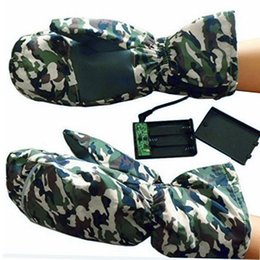 Electric Hot Warmer Australia - Hot Selling New Winter Electric Heated Mens Gloves Warming Camouflage Battery Soft Outdoor Sport Gloves handschoenen @30