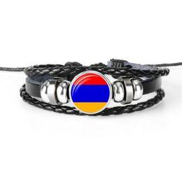 $enCountryForm.capitalKeyWord Australia - 2019 Fashion Women Men Leather Rope Beaded Bracelet Trendy Glass Cabochon Armenia National Flag World Cup Football Fan Jewelry For Women Men