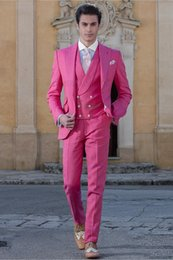 Images Fashionable Suits Australia - Fashionable One Button Groomsmen Peak Lapel Groom Tuxedos Men Suits Wedding Prom Dinner Best Man Blazer(Jacket+Pants+Tie+Vest) A184