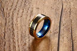 Mens Black Gold Engagement Rings Australia - Mens 8mm Gold Tungsten Ring Band Black Carbon Fiber Surface Blue Inner Beveled Edges Comfort Fit K3750