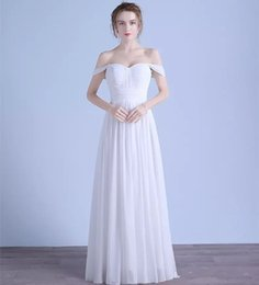 $enCountryForm.capitalKeyWord Canada - Off Shoulder Chiffon Beach Wedding Dresses 2018 Floor Length Bridal Dress New Pleated Wedding Gowns Fast Shipping