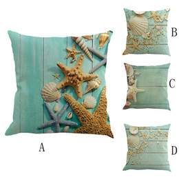 Decorative Hand Paintings Australia - Mediterranean wind seaside linen pillow Case Cotton Linen Throw Cushion Decorative Cover Home SofaDecor Hand Painted 4.26
