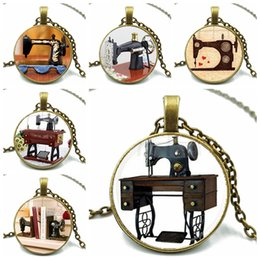 Discount vintage machines - Hot Sale Vintage Sewing Seamstress Art Glass Dome Necklace Sewing Machine Metal Chain Necklace for Women