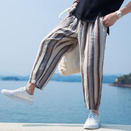 $enCountryForm.capitalKeyWord Australia - Summer Loose Men Pants Wide Legs Stripe Print Calf Length Button Decor Baggy Harem Trousers Male Hiphop Joggers Big Size 5xl Y190518